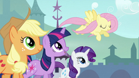 Twilight, Applejack and Rarity trotting with Fluttershy S3E2