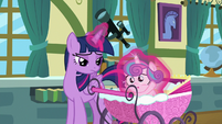 Twilight Sparkle places Flurry Heart in her stroller S7E3