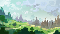 Wide view of the edge of Canterlot S9E24