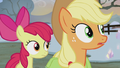 Applejack and Apple Bloom hear Pinkie whistle S5E20.png
