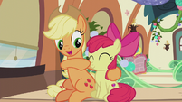 Applejack boops Apple Bloom's nose S5E20