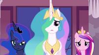 Celestia, Luna and Cadance looking at Twilight S4E26