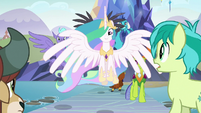 Celestia arrives with the race leaders S8E2