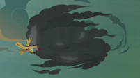 Flash Magnus flying toward the giant thundercloud S7E16