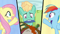 Fluttershy, Zephyr, and Rainbow split-screen S6E11.png
