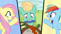 Fluttershy, Zephyr, and Rainbow split-screen S6E11