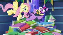 Fluttershy startles Twilight Sparkle awake S7E20