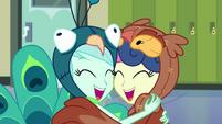Lyra and Sweetie Drops hugging EG3