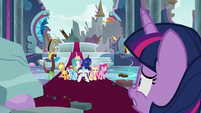 Main ponies and friends look at Rarity S9E24