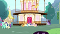 Main ponies sulking outside Town Hall S8E18.png
