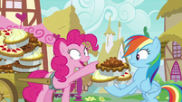 Pinkie Pie gives Rainbow Dash three more pies S7E23