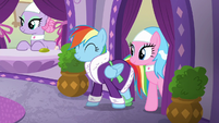 Rainbow Dash coming out of the back room S6E10