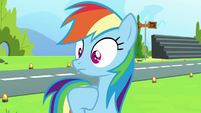 Rainbow Dash surprised by camera flash S7E7