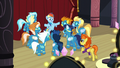 Rainbow face-to-face with the other Wonderbolts and Stormy Flare S5E15.png