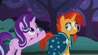 Starlight Glimmer shows Sunburst the apple trees S7E24