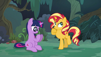 Sunset thinks as Sci-Twi looks at her hooves EGSB
