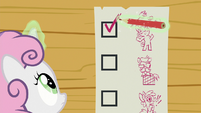 Sweetie Belle checking off the checklist S8E12