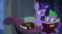 Twilight pokes blushing Spike S4E03