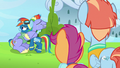 Windy and Scootaloo look at Rainbow and Bow S7E7.png