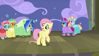Young Six appear behind Fluttershy in costumes S8E7