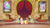 Applejack, Fluttershy, Flim, and Flam team up S6E20