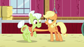 Applejack stops Granny Smith from leaving the barn S6E23.png