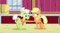Applejack stops Granny Smith from leaving the barn S6E23