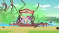 Equestria Girls jumping off the camp dock EG4.png