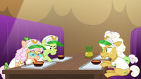 Grannies sit down with carrot soup bowls S8E5