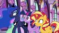 Luna raises an eyebrow at Twilight and Sunset EGFF.png