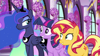 Luna raises an eyebrow at Twilight and Sunset EGFF