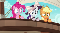 Pinkie, Rarity, and AJ looking overboard S6E22
