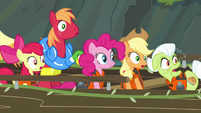 Pinkie and Apples looking toward waterfall S4E09