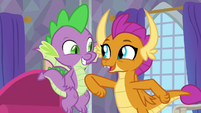 Smolder pokes Spike with her elbow S9E9
