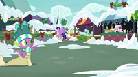 Spike pointing over at Twilight Sparkle MLPBGE