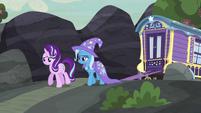 Starlight and Trixie walking toward the village S6E25