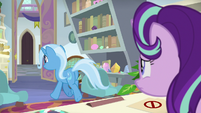 Trixie giddily leaving Starlight's office S9E20