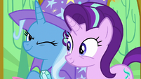 Trixie winking at Starlight Glimmer S6E6