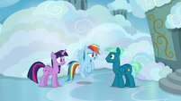 Twilight and Rainbow speak with Sky Stinger S6E24