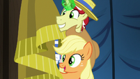 Applejack and Flim await Gladmane's confession S6E20