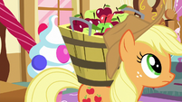 Applejack backs into trapdoor button S7E23