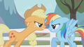 Applejack challenges Rainbow Dash to a hoof wrestle S01E03.png