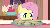 Fluttershy looking at cucumber sandwiches S7E12