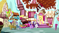 Main five follow Maud outside the bakery S8E18