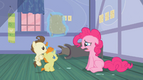Pound and Pumpkin Cake looking at Pinkie Pie S2E13