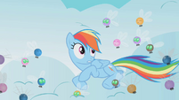Rainbow Dash surrounded by parasprites S1E10