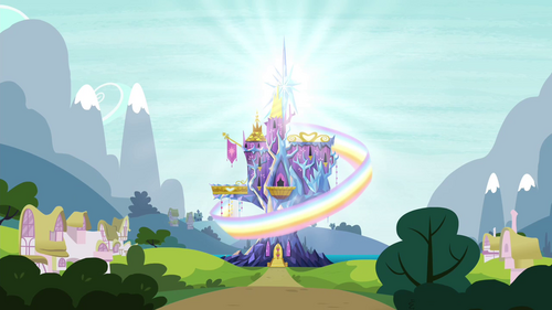 Rainbow circles the castle exterior S4E26