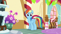 Rainbow enters Pinkie Pie's loft bedroom S6E15