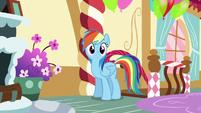 Rainbow enters Pinkie Pie's loft bedroom S6E15