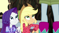 Rarity and AJ look up at Rainbow EG4